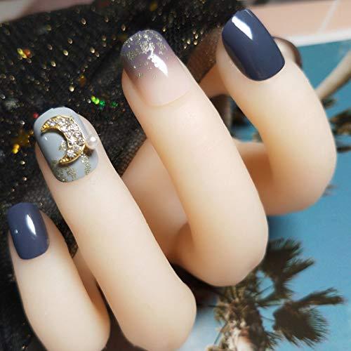 Sethexy Glänzend Squoval Falsche Nägel Strass Mond Gradient Vollständige Abdeckung Kunst Künstliche Nägel Tipps für Frauen und Mädchen