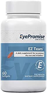 EyePromise EZ Tears Eye Vitamin – Occasional Dry Eye Relief Supplement - Omega-3s and 8 Other Soothing Ingredients