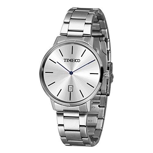 Time100 Reloj Cuarzo para Hombres Correa de Acero Inoxidable
