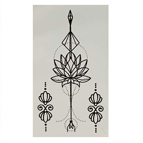1 x Lotus Tattoo in schwarz - Blumen und Diamant - Temporary Body Tattoo - T087 (1)