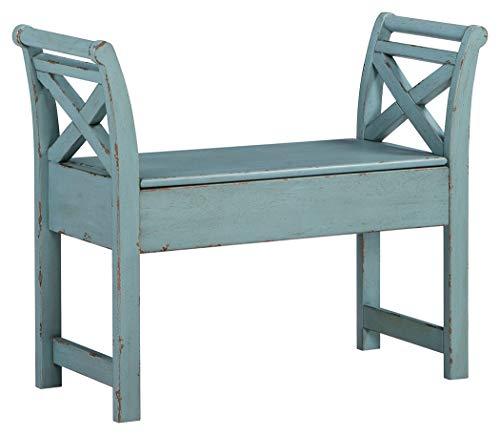 Signature Design by Ashley - Heron Ridge Storage Accent Bench - Antique Blue Finish - Hinged Seat