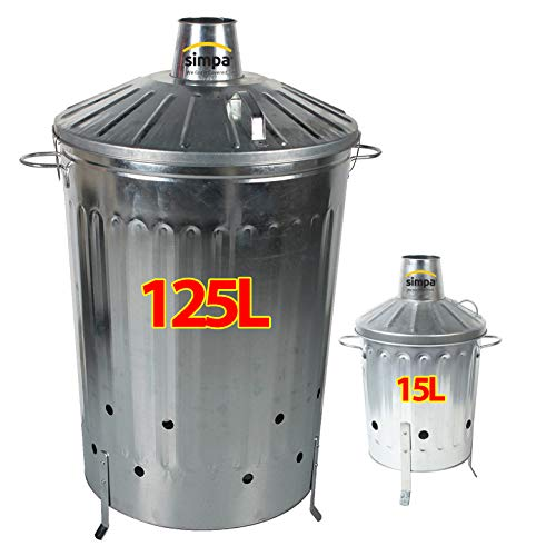 simpa 2PC Garden Incinerator Bundle: 1 x 125L 125 Litre Incinerator & 1 x 15L 15 Litre Incinerator - Galvanised Metal Incinerator Set with Locking Lid Feature