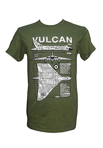 The Wooden Model Company Ltd Avro Vulcan Heavy Bomber – Falklands War/Vert Militaire T-Shirt avec Motif Blueprint - Vert - Large