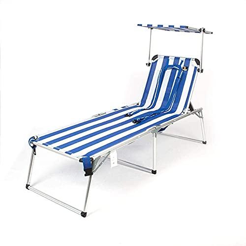 Cama Casual portátil al Aire Libre Cama Plegable para el Almuerzo Silla de Playa, Azul y Blanco, 192 x 65 x 41 cm