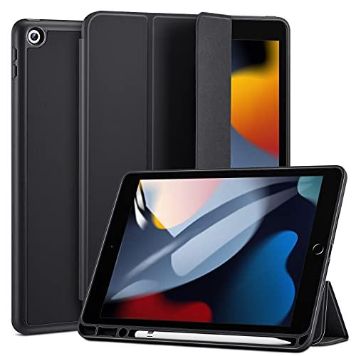 ESR Hülle kompatibel mit iPad 9/8/7 Generation mit Stifthalter, 10,2 Zoll 2021/2020/2019, Dual-Winkel Ständer, automatische Ruhe-/Wachfunktion, Schwarz