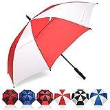 Eono by Amazon - Grand Parapluie de Golf, 62 inch, à Double Voilure et Ouverture Automatique, Protection Contre Le Vent, Grand Format Golf Umbrella, Rouge/Blanc