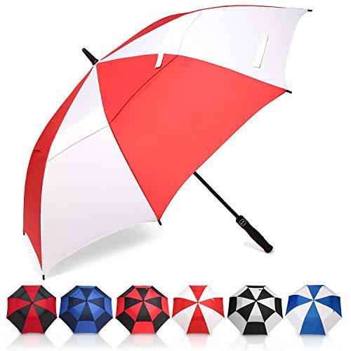 Eono by Amazon - 68 Inch Automatische Öffnen Golf Schirme Extra Große, Übergroß Doppelt Überdachung Belüftet Golfschirme, Winddicht wasserdichte Stock Regenschirme, Reise Golfschirm, Rot/Weiß