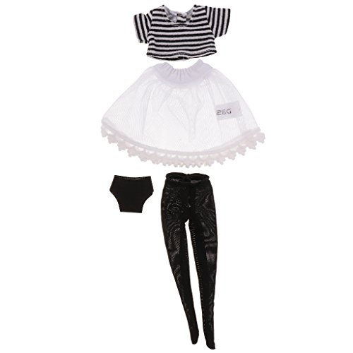Sharplace Niedliches Gestreiftes T Shirt + Strümpfe Socken + Garnkleid + Unterhose Set für 12 Zoll Neo Takara Blythe Dolls Zubehör