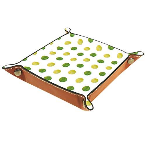 ZORE_FINE5 Bandejas cuadradas de cuero para joyas, juego de dados con bandeja para llaves y dulces de 11,5 cm/4,5 en verde y amarillo acuarela lunares