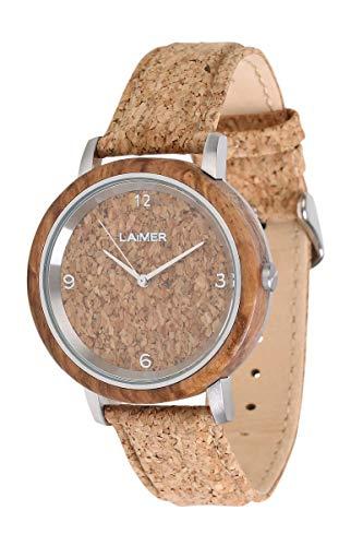 LAiMER Holzuhr - Herren Quarz Armbanduhr JÖRG aus Zebranoholz - Analog, Zifferblatt aus Kork, Ø 42mm - Zero Waste Verpackung aus Naturholz