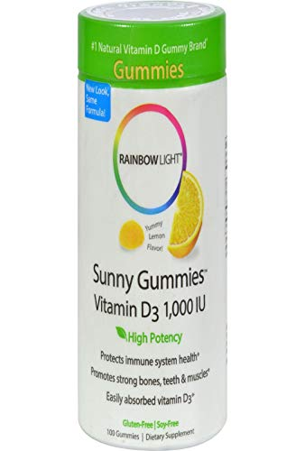 Rainbow Light, Vitamin D3 1000 I U Sunny Gummies Lemon, 100 Count