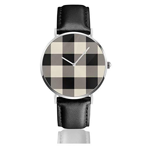 Reloj de pulsera minimalista de cuarzo para mujer, estilo rústico, negro y beige, con correa de cuero a cuadros