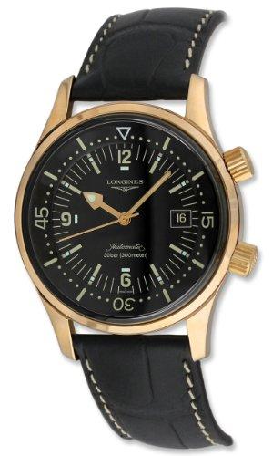 Longines Legend Diver Automatic 18kt Rose Gold Mens Strap Watch 30mm L3.674.8.50.0