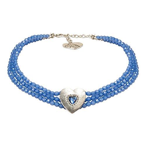 Alpenflüstern Trachten-Perlen-Kropfkette Funkelherz - Elegante Trachtenkette mit Trachtenherz - nostalgischer Damen-Trachtenschmuck, Dirndlkette blau DHK212