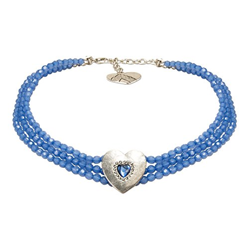 Alpenflüstern Trachten-Perlen-Kropfkette Funkelherz - Elegante Trachtenkette mit Trachtenherz Damen-Trachtenschmuck, Dirndlkette blau DHK212