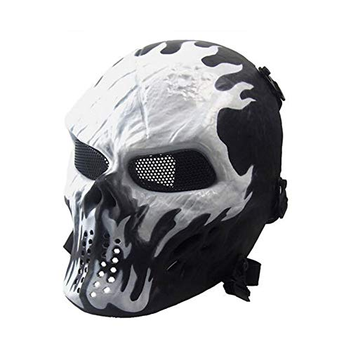 ATAIRSOFT Taktische Airsoft Paintball CS Schützen Vollgesichtsmaske für Cosplay Hockey BB Iron Masquerade (Feuer)