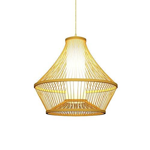 ZGZRXGY Mano Tejida de Estilo japonés Arte de bambú araña Moderna sudeste asiático Estilo Restaurante decoración lámpara hogar e27 Fuente de luz Colgante iluminación Hotel Corredor iluminación