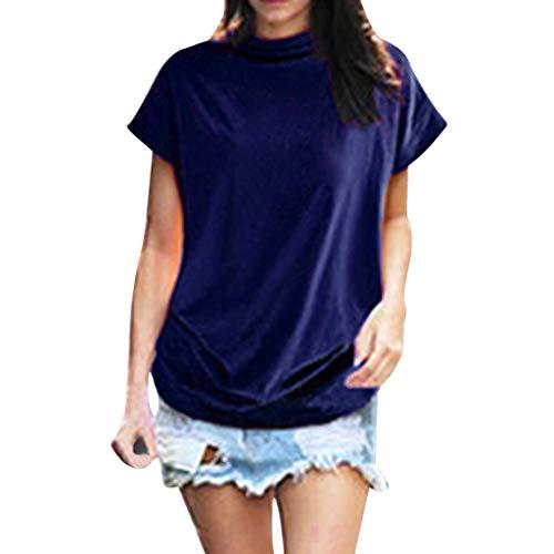 iHENGH Damen Top Bluse Bequem Lässig Mode T-Shirt Frühling Sommer Blusen Frauen Rollkragen Kurzarm Baumwolle Solide Casual Top(Blau, L)
