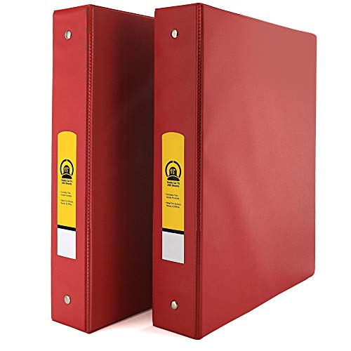 """Emraw Super 1 1/2"""" Inch 3-Ring Binder with 2 Side Pockets for Papers and Dividers - Available in Red - Great for School, Home, & Office (2-Pack)"""