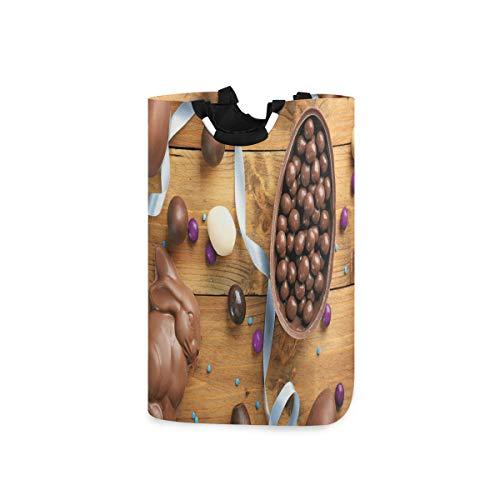 ZOMOY Multifunktionale Faltbarer Schmutzige Kleidung Wäschekorb,Köstliche Schokolade mit Eierband Holztisch Feiertagsvorbereitung,Household Wäschebox Spielzeug Organizer Aufbewahrungsbeutel mit Henkel