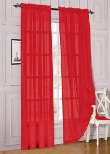 """MONAGIFTS 2 PANELS RED Sheer Voile Window Panel curtains 59"""" WIDTH X 84"""" LENGTH EACH PANEL"""