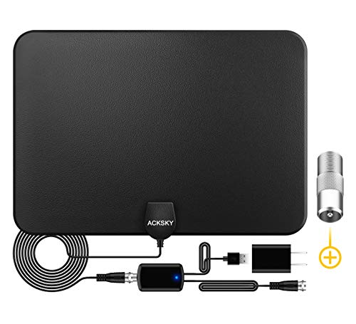 ACKSKY TV Antenna, Amplified HD Digital Indoor Antenna Long 200+ Miles Range with 2020 Advanced Amplifier Signal Booster-Support 4K 1080p Fire TV Stick and All TV's - 18ft HDTV Coax Cable/AC Adapter