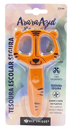Tesoura Escolar Segura - Formato Tigre (Sem Lâmina) 12 cm, DS-SO0028