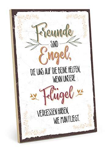 TypeStoff Holzschild mit Spruch – Freunde Engel FLÜGEL – im Vintage-Look mit Zitat als Geschenk und Dekoration (Größe: 19,5 x 28,2 cm)