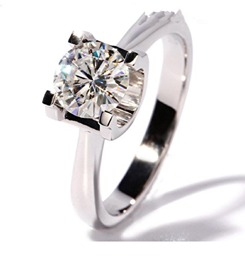GOWE 1 Carat CT F Color Engagement Wedding Lab Grown Moissanite Diamond Ring Solid 14K 585 White Gold For Women