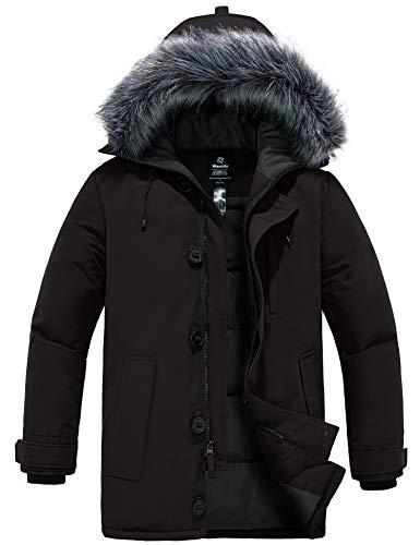 Wantdo Men's Winter Cotton Lined Jacket Warm Long Coat Outerwear Dark Grey L