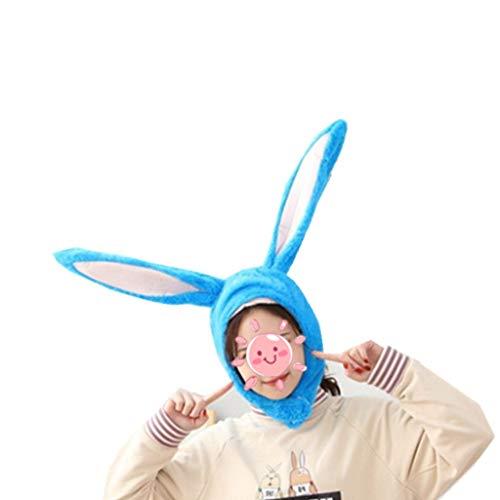 Oduo Orecchie da Coniglio Peluche Cappello, Giocattolo del Cappello dell'orecchio di Coniglio della Peluche delle Ragazze Divertenti Regalo di Compleanno Cappello (Blu,55x27cm)