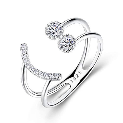 Blisfille Ring Sterling Silber 925 Damen Ringe S925 Sterling Silber Ring Smiley Face Silber Kostenlos Gravur