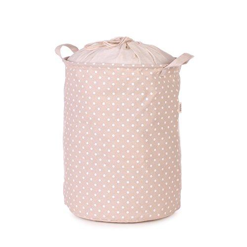 Snykk Wäschesack beige weiß gepunktet 30 x 40cm selbststehend Punkte vegan Natur