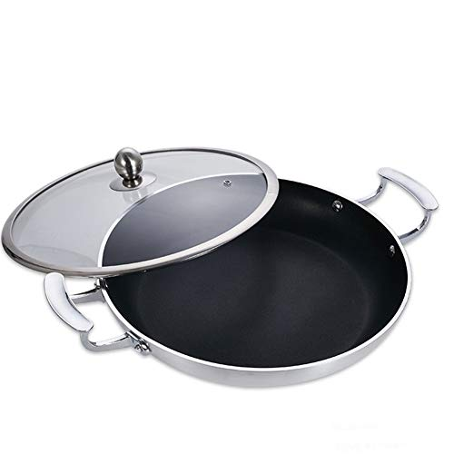 EOVL paellera,sartén,para freír cacerola,Con tapa de vidrio, mango anti escaldado, sartén antiadherente, apto para cocina de inducción de gas, fácil de limpiar cacerola / 28cm