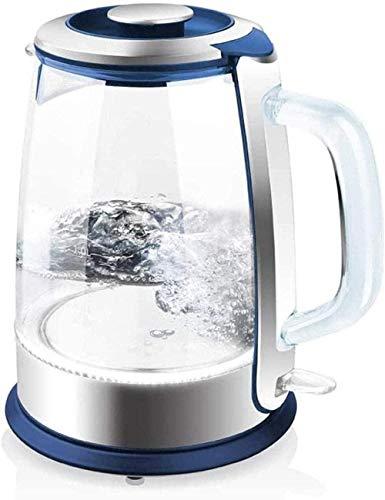 1 hervidor eléctrico de vidrio de 5 l con calentador de agua eléctrico iluminado LED sin cable con tapa interior de acero inoxidable, protección inferior para hervir en seco, accesorios de cocina