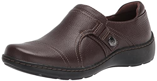 Clarks Women's Hope Roxanne Loafer, Brown Leather, 9.5 M US