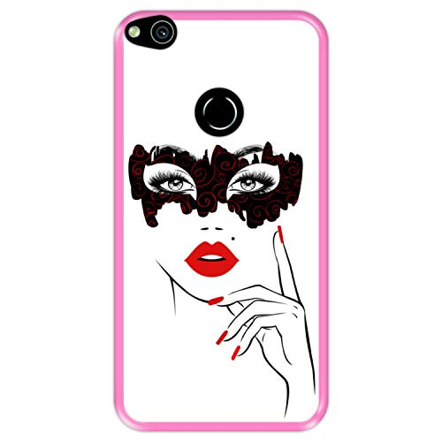Funda Rosa para [ Huawei P8 Lite 2017 - P9 Lite 2017 - Nova Lite ] diseño [ Fiesta de Disfraces, Rostro Mujer con Labios Rojos ] Carcasa Silicona Flexible TPU