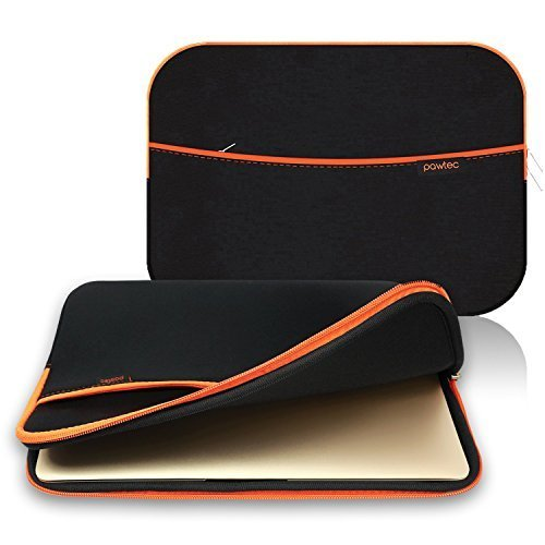 Pawtec Neoprene Sleeve Protective Storage Carrying Case - Compatible with MacBook 12-Inch Retina USB-C - with Extra Storage Pocket for Accessories and Wall Charger (Black)