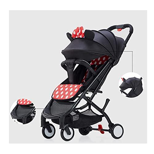 QIFFIY Cochecito de bebé puede sentarse y acostarse ultra ligero, portátil, plegable, pequeño, simple, paraguas para bebé, cochecito de bebé (color: negro y rojo)