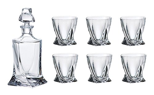 Crystalex Bohemia Quadro Whiskey Set, 1 Bohemian Crystal Glass 28-Ounce Decanter with Stopper and 6 Tumblers