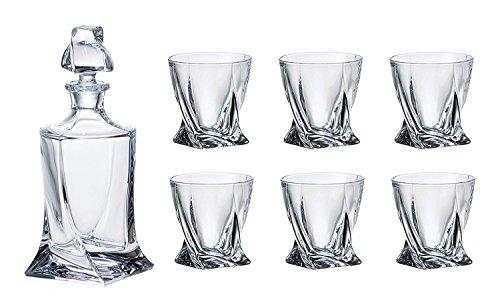 Crystalex Bohemia quadro whiskey set, 1cristallo di Boemia 793,8gram decanter in vetro con tappo e 6bicchieri