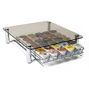 Deluxe Glass Coffee Pods K cup Storage organize save counter space Keurig kcups variety pack Holds 35 K-Cups Fevodesign