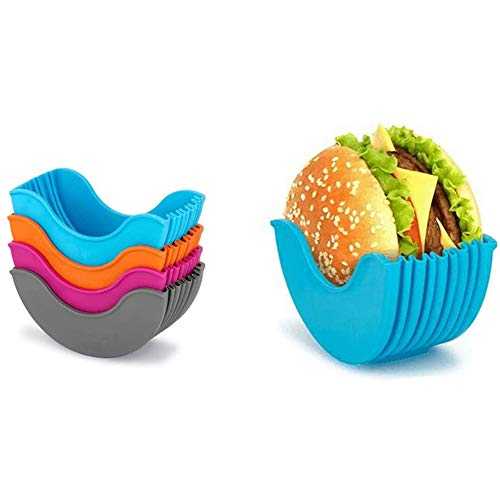 NSSTAR Burger Holder,Reusable Hamburger Bun Shell - Mess-Free Eco Friendly Packaging Alter-Native to Cardboard Boxes Plastic Plates Foil Trays Washable Retractable Plastic Hamburger Clip