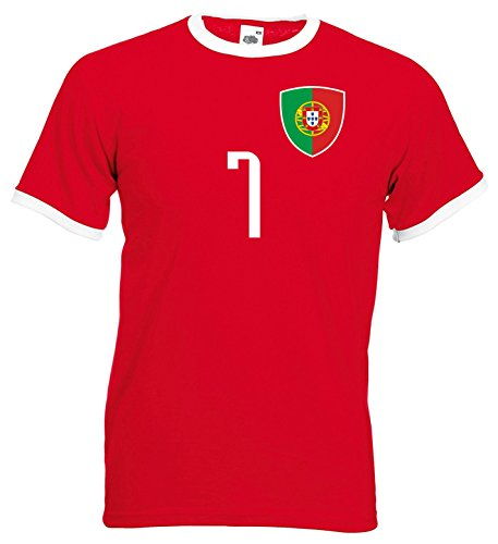 nationshirt Portugal Ringer T-Shirt BR 7 R World Cup 2018 World Cup Jersey - Red - Medium