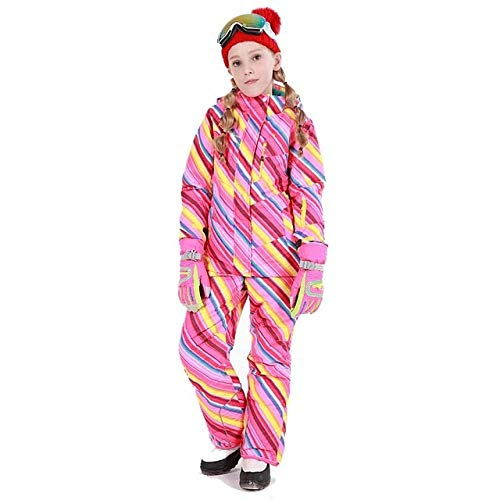 Skipak, waterdichte jas voor kinderen, GkDDZH, skibroek, jongens, thermische kwaliteit, winterkleding -30 graden, oranje, M