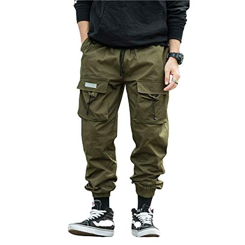 Salopette pour Hommes Pantalon à Cordon Coulissant Japonais Salopette Multi-Poches décontractée Pantalon de Sport