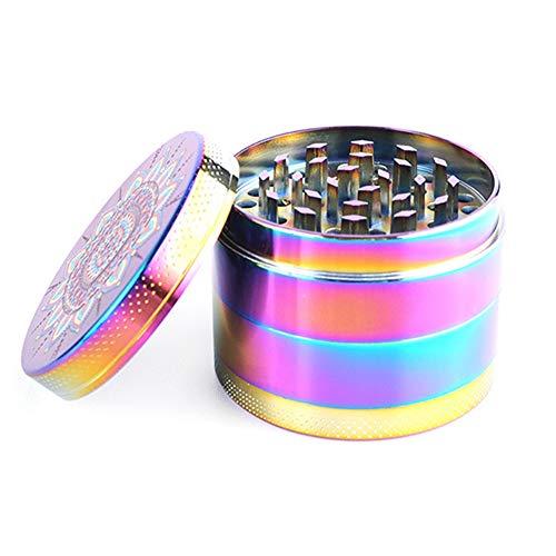 Woeau Molinillo de hierbas de metal – 55 mm arco iris tabaco de aleación de zinc, triturador de especias con dientes afilados, rascador de polen y tapa magnética/cubierta para el hogar u oficina