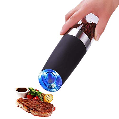 Electric Pepper Grinder Salt Mill Gravity Control Shaker Automatic Operated Battery Powered Large Capacity Transparent Lid Adjustable Coarseness with Led Light