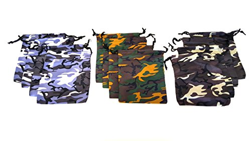 Dondor' Camouflage Kordelzugbeutel 12 Pack Mehrfarbig
