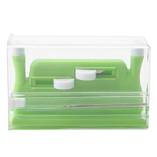 Herramienta de inserción de enhebrador de agujas de doble orificio para aguja de mano verde para máquina de coser (con 5 agujas)